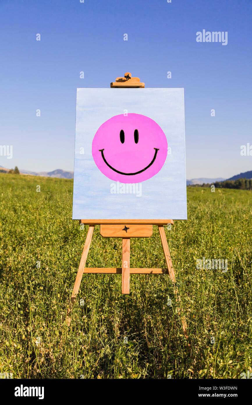 Smiley Face painting on easel dans champ vert. Le bonheur, la créativité, la bonne humeur, la santé mentale des concepts. Photo Stock