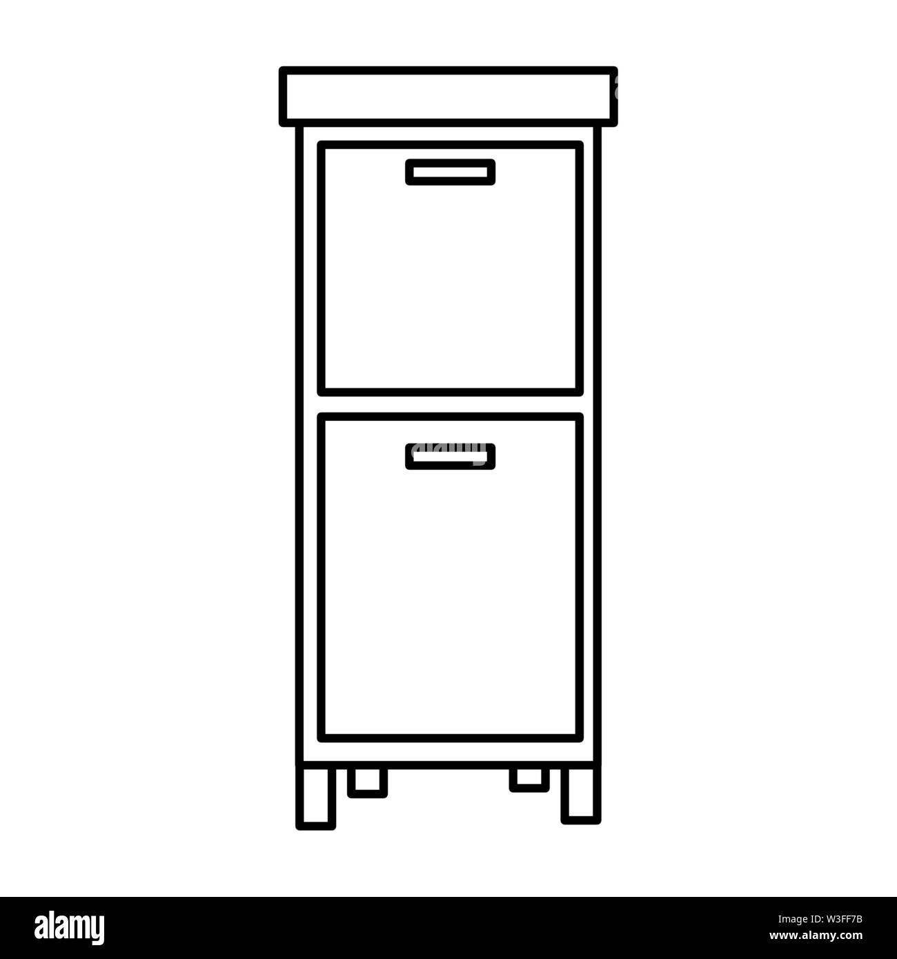 Tiroirs meubles de cabinet sur fond blanc vector illustration Photo Stock