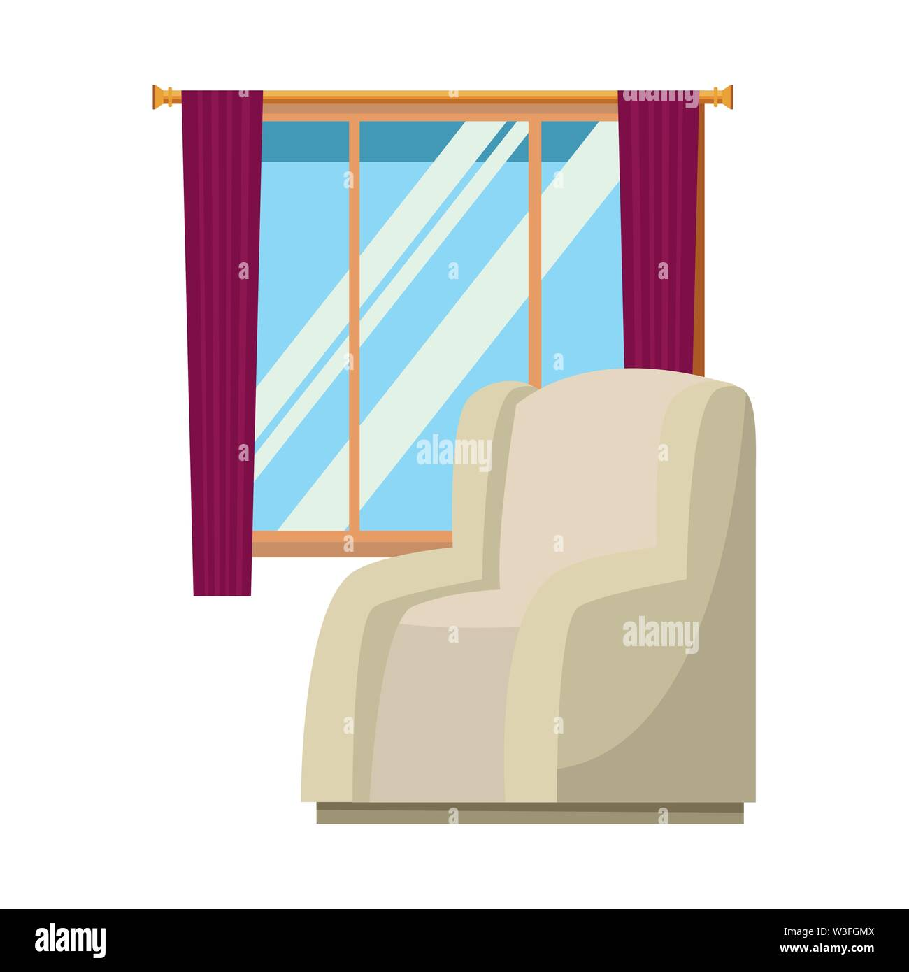 Chambre canapé fauteuil avec fenêtre et rideaux vector illustration graphic design Photo Stock