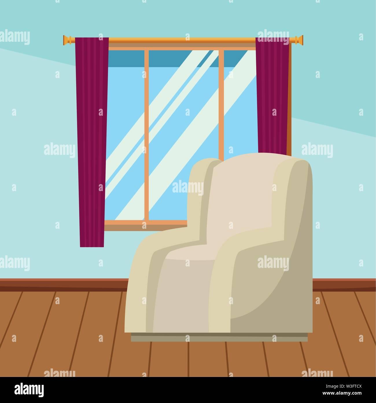 Chambre canapé fauteuil avec fenêtre et rideaux accueil paysages intérieurs avec plancher en bois ,vector illustration graphic design. Photo Stock