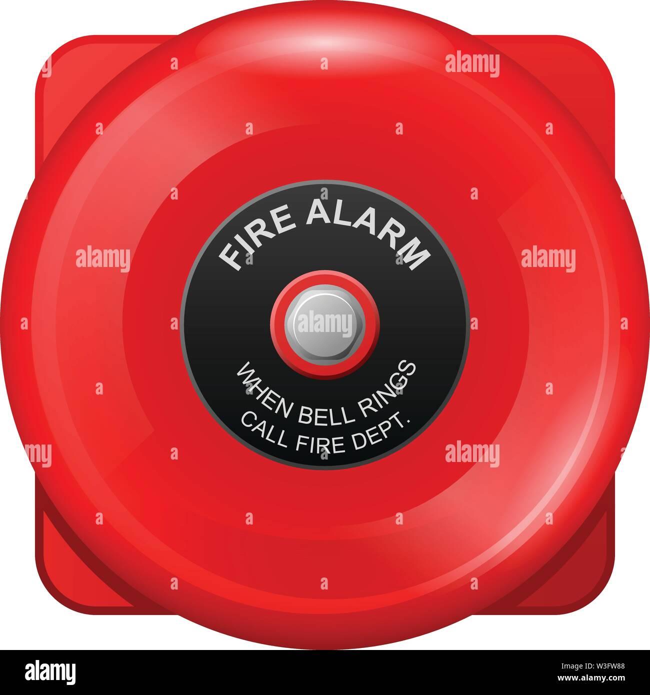 Alarme incendie red bell, d'une sirène d'évacuation d'urgence, mur de cloche Photo Stock