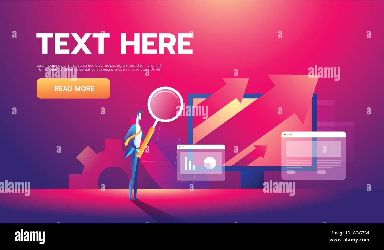 L'analyse d'affaires bannière concept avec des personnages. Peut utiliser pour les bandeaux web, infographie, images d'affaires. Vector illustration isométrique à plat. Illustration de Vecteur