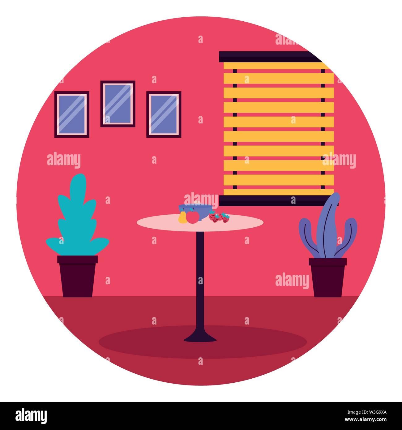 Fruits cuisine fenêtre table meubles plantes sticker vector illustration Photo Stock