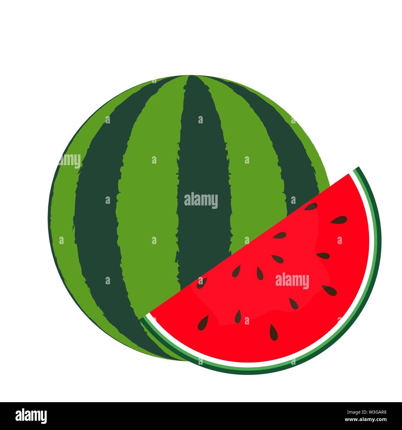 L'icône de pastèque isolé en fond blanc. Vector Illustration. Photo Stock