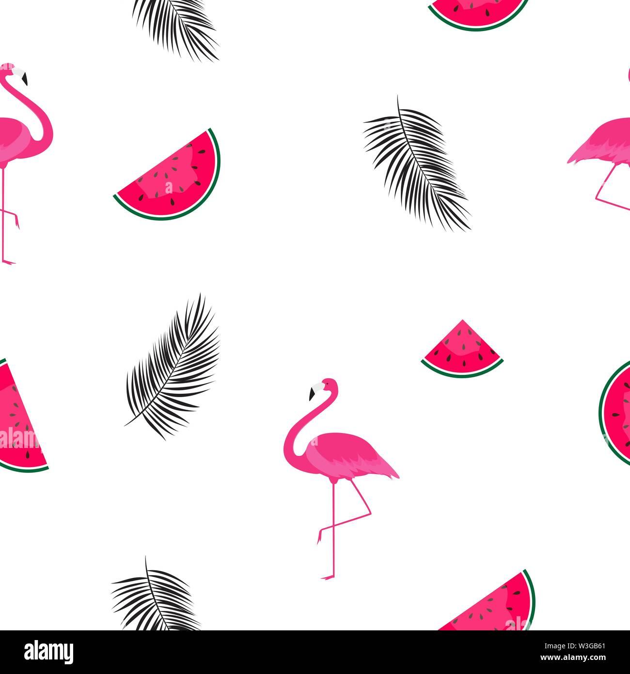 Motif de fond transparente des pastèques, Flamingo et feuille de palmier. Vector Illustration Photo Stock