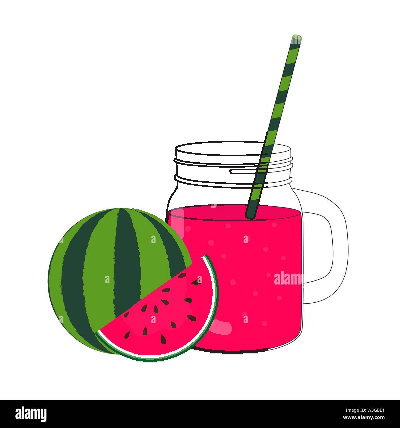 Smoothie pastèque Jar. Vector Illustration Photo Stock