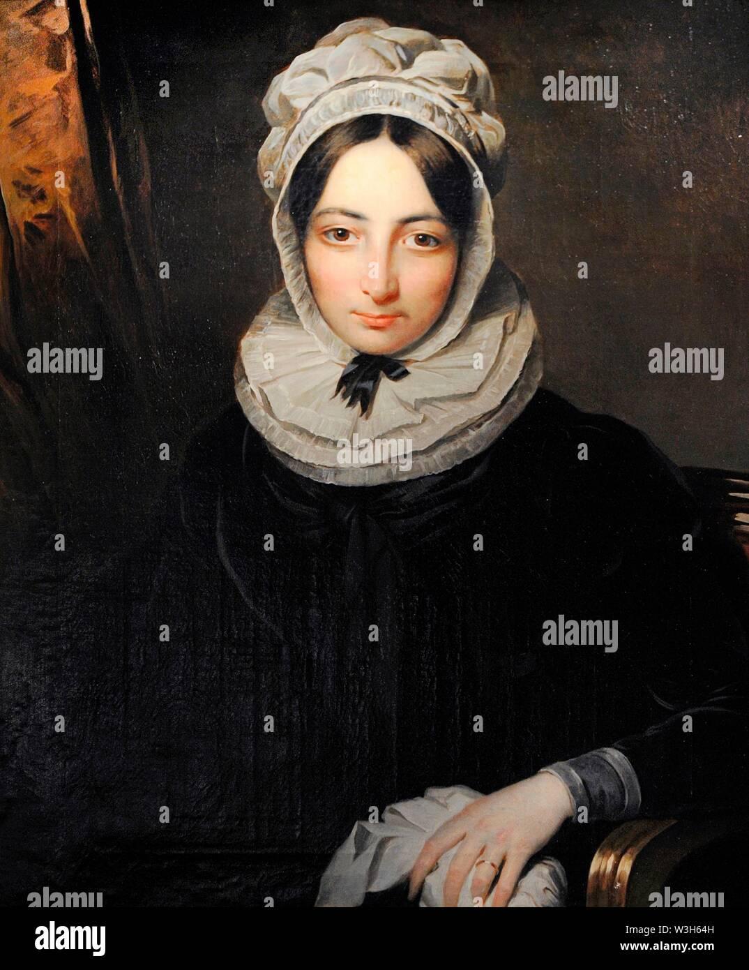 María Teresa del Riego y Bustillos (1800-1824). Viuda del General Riego. Retrato por Benjamin de la Cour, hacia 1824. Museo del Romanticismo. Madrid. España. Banque D'Images