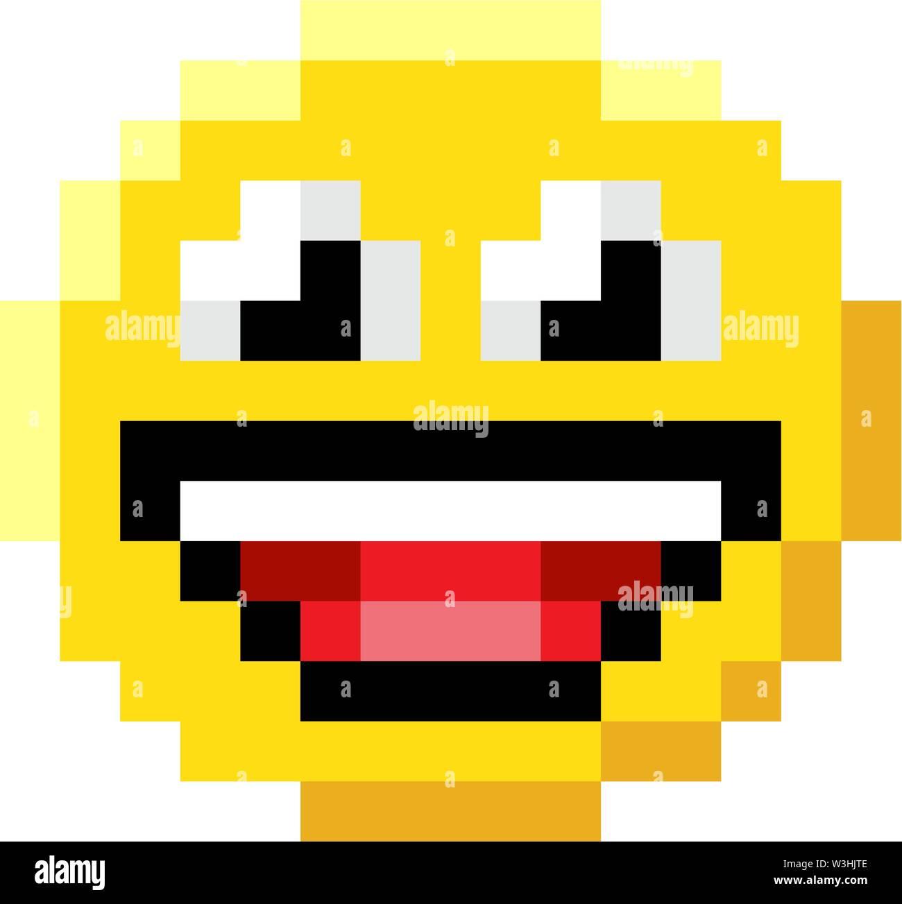 Visage D émoticônes Pixel Art 8 Bits L Icône Du Jeu Vidéo