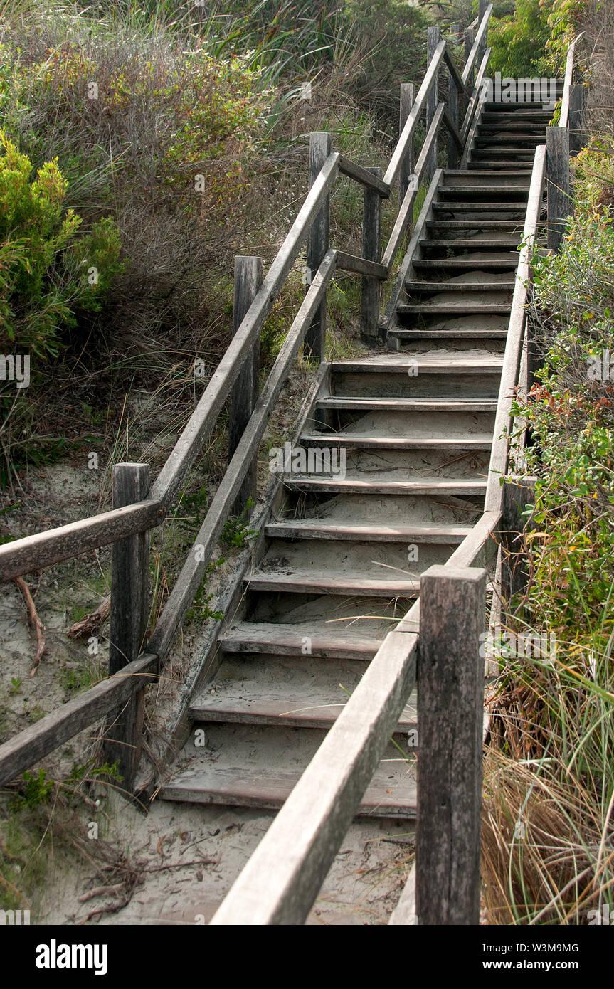 Vide d'extérieur en bois escalier / étapes à Perth, Australie Photo Stock