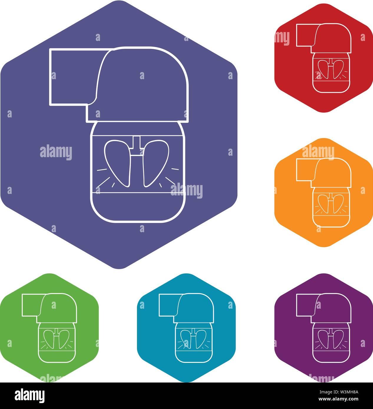 Inhalateur pour l'hexaèdre vecteur icônes pulmonaire Photo Stock