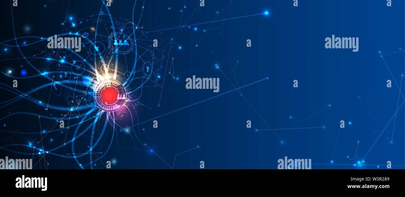 Image illustration technologique conceptuel de l'intelligence artificielle. Abstract futuristic background Photo Stock