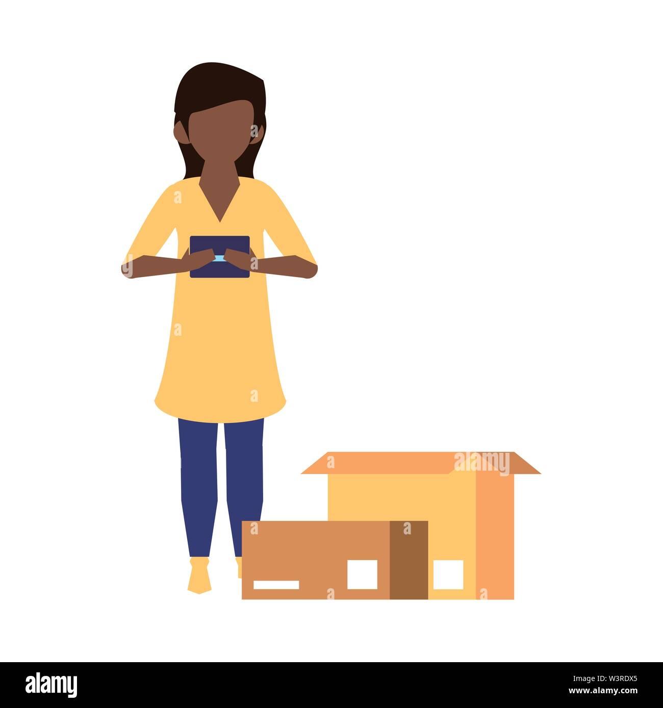 Femme en utilisant la technologie mobile smartphone pour lire message de chat et un service de livraison logistique cartoon vector illustration graphic design Photo Stock
