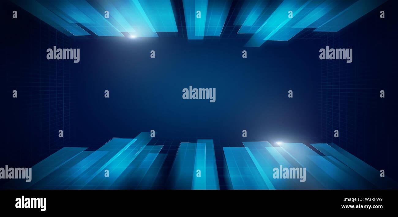 Hi-tech écran moderne de données, connexion Internet stream concept de flux Photo Stock