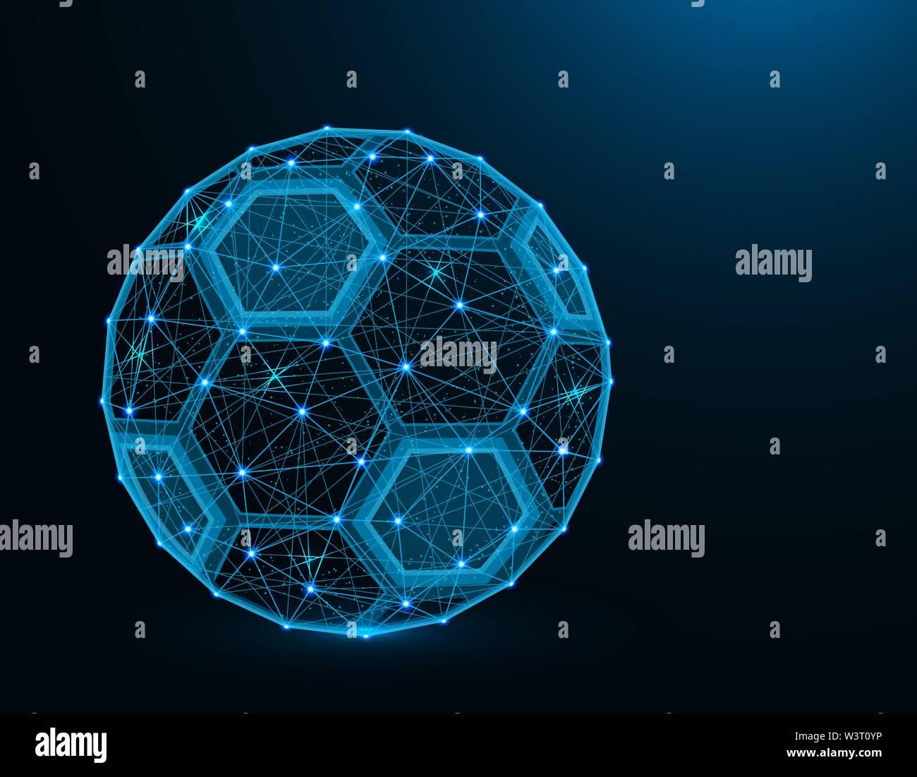 Ballon de soccer faible modèle poly jeu de sport, football, graphiques abstraits wireframe polygonale vector illustration sur fond bleu foncé Photo Stock