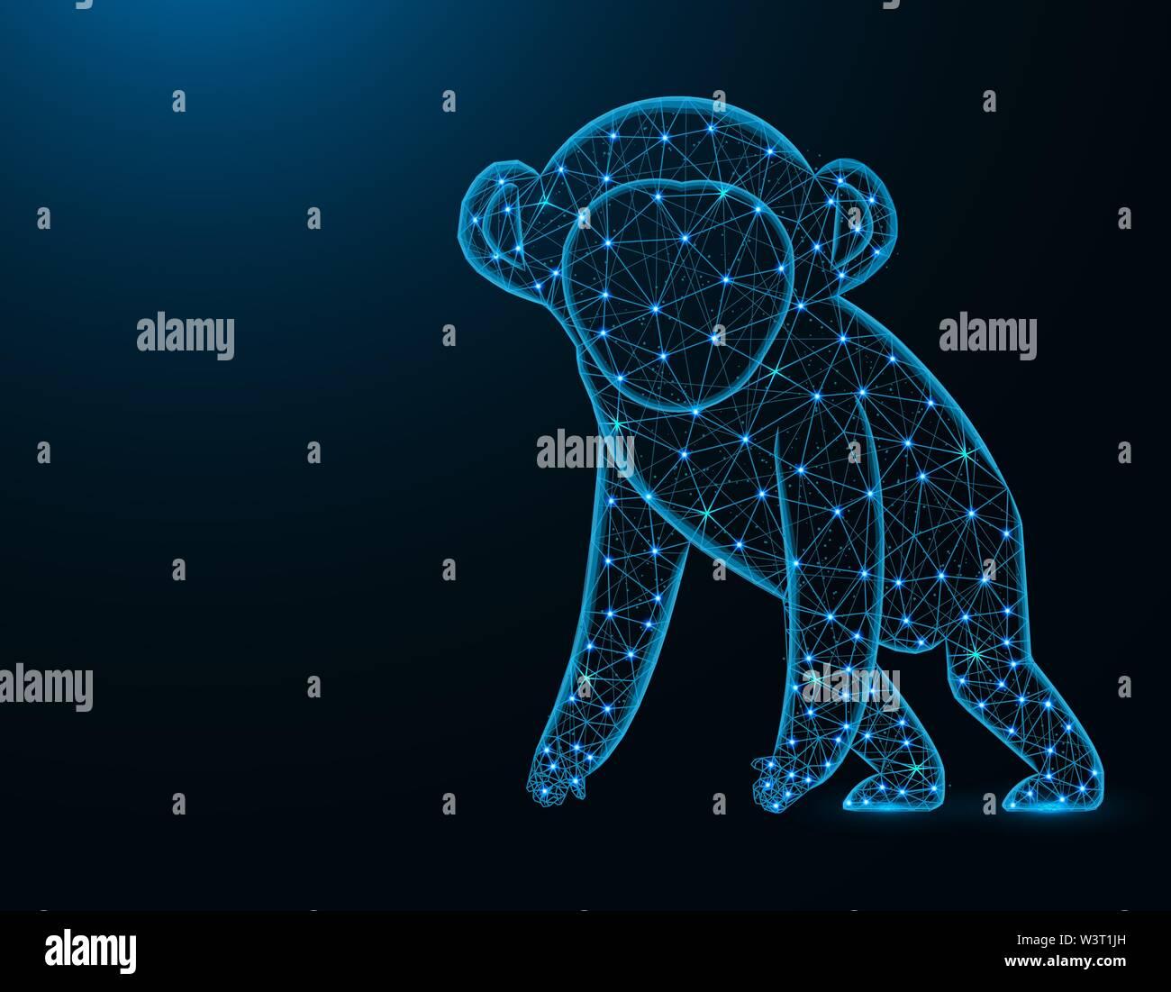 Un singe, modèle poly faible résumé animale africaine, primate graphiques wireframe polygonale vector illustration sur fond bleu foncé Photo Stock