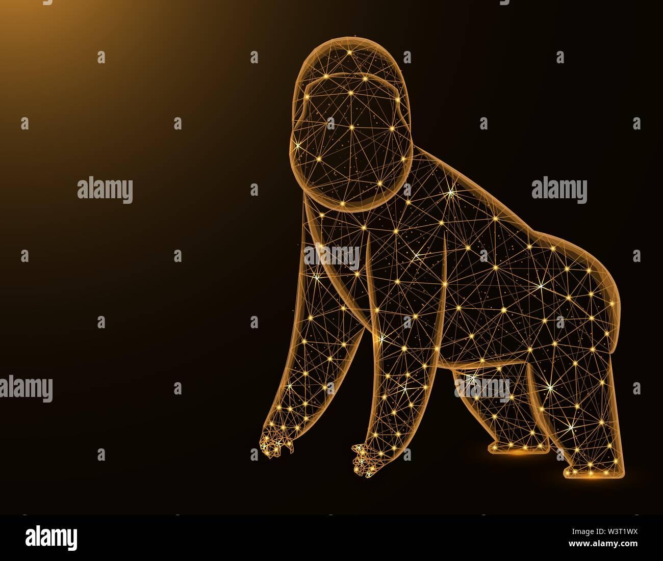 Gorilla, modèle poly faible résumé animale africaine, primate graphiques wireframe polygonale vector illustration sur fond jaune foncé Photo Stock