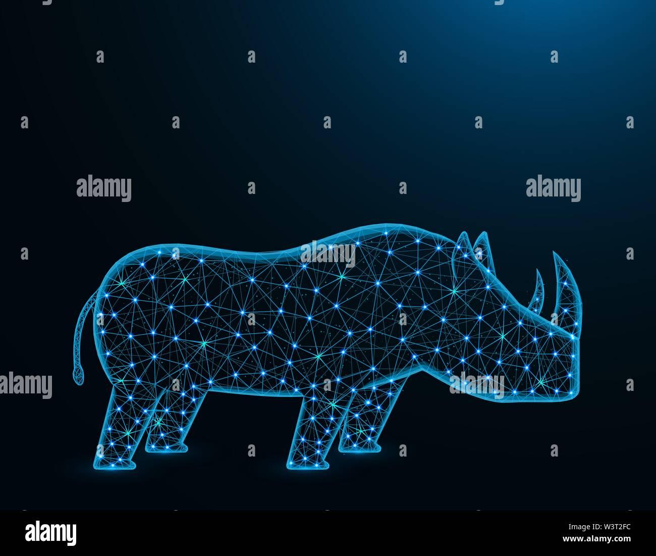 Peu de rhinocéros d'Afrique, modèle poly résumé des animaux mammifères solitaires, des graphiques d'illustration vectorielle wireframe polygonal sur fond bleu foncé Photo Stock