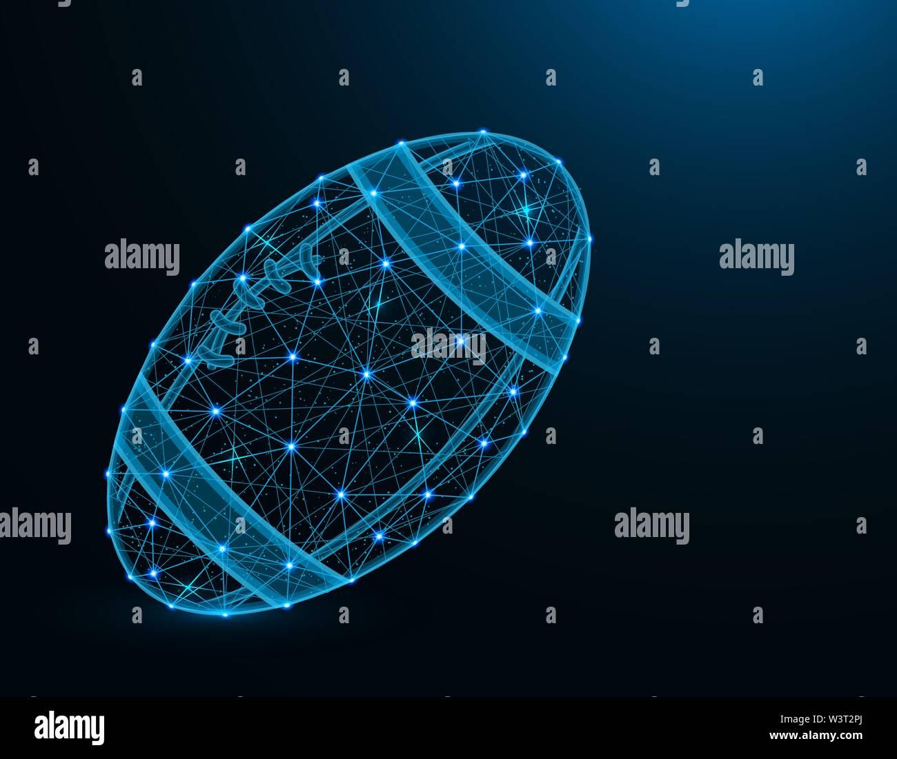 Ballon de Rugby low poly jeu de sport, modèle abstract graphics, le football américain, wireframe polygonale vector illustration sur fond bleu foncé Photo Stock