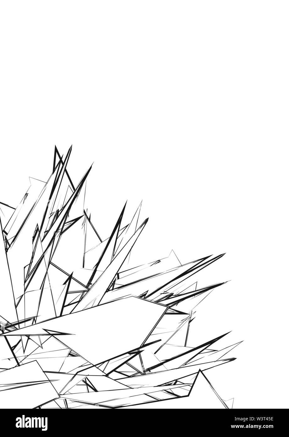 Résumé de triangles et de rayures de couleurs noir et blanc. Photo Stock
