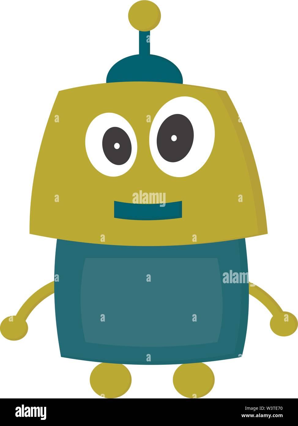 Un robot heureux vert avec de grands yeux, Scénario, dessin en couleur ou d'illustration. Photo Stock