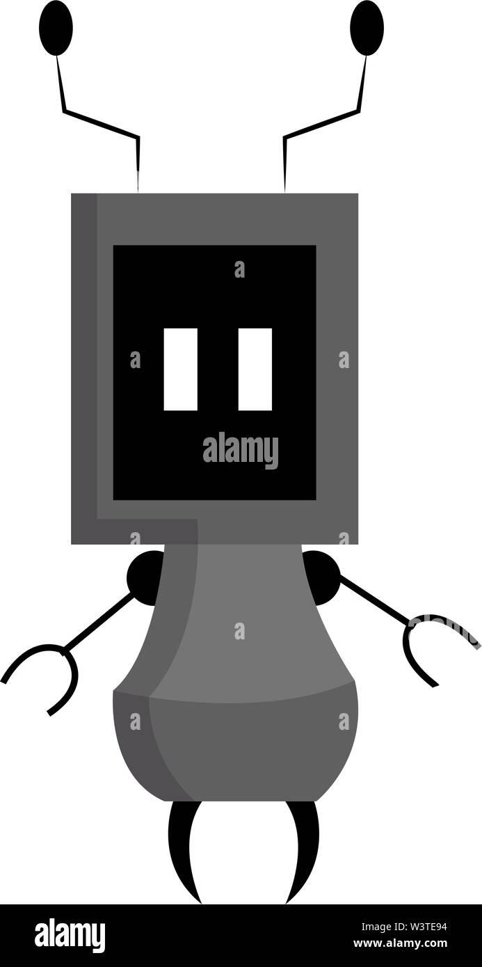 Un robot de couleur grise avec les mains et les cornes, Scénario, dessin en couleur ou d'illustration. Photo Stock
