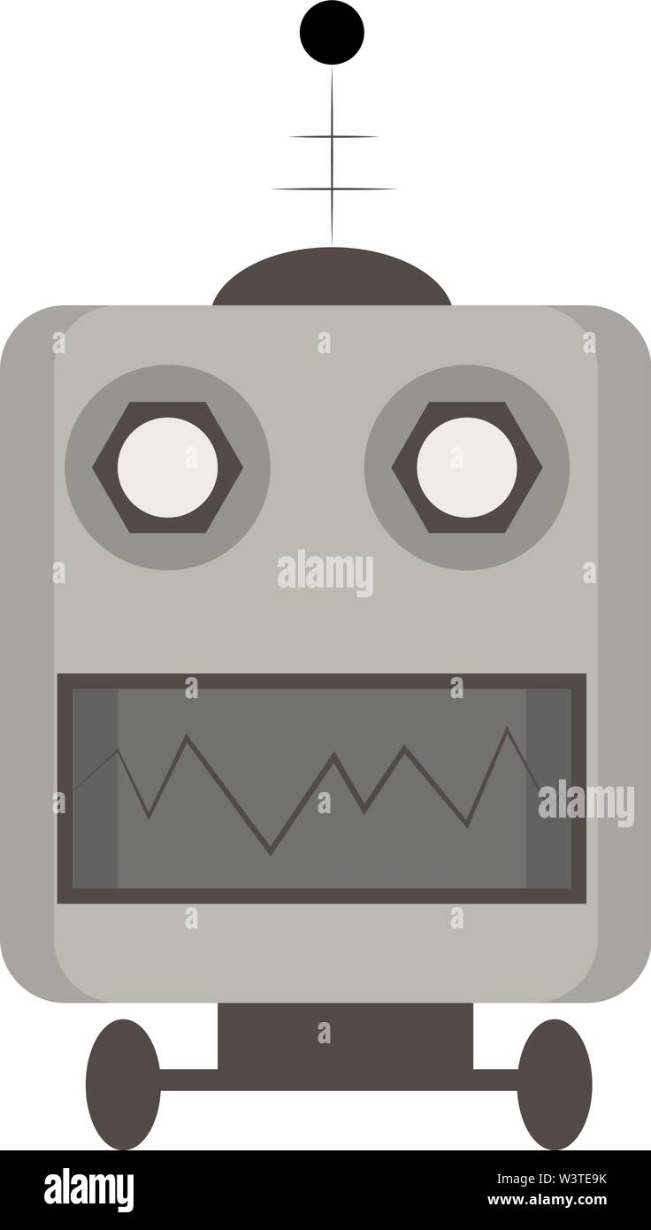 Un robot gris avec des dents pointues, Scénario, dessin en couleur ou d'illustration. Photo Stock