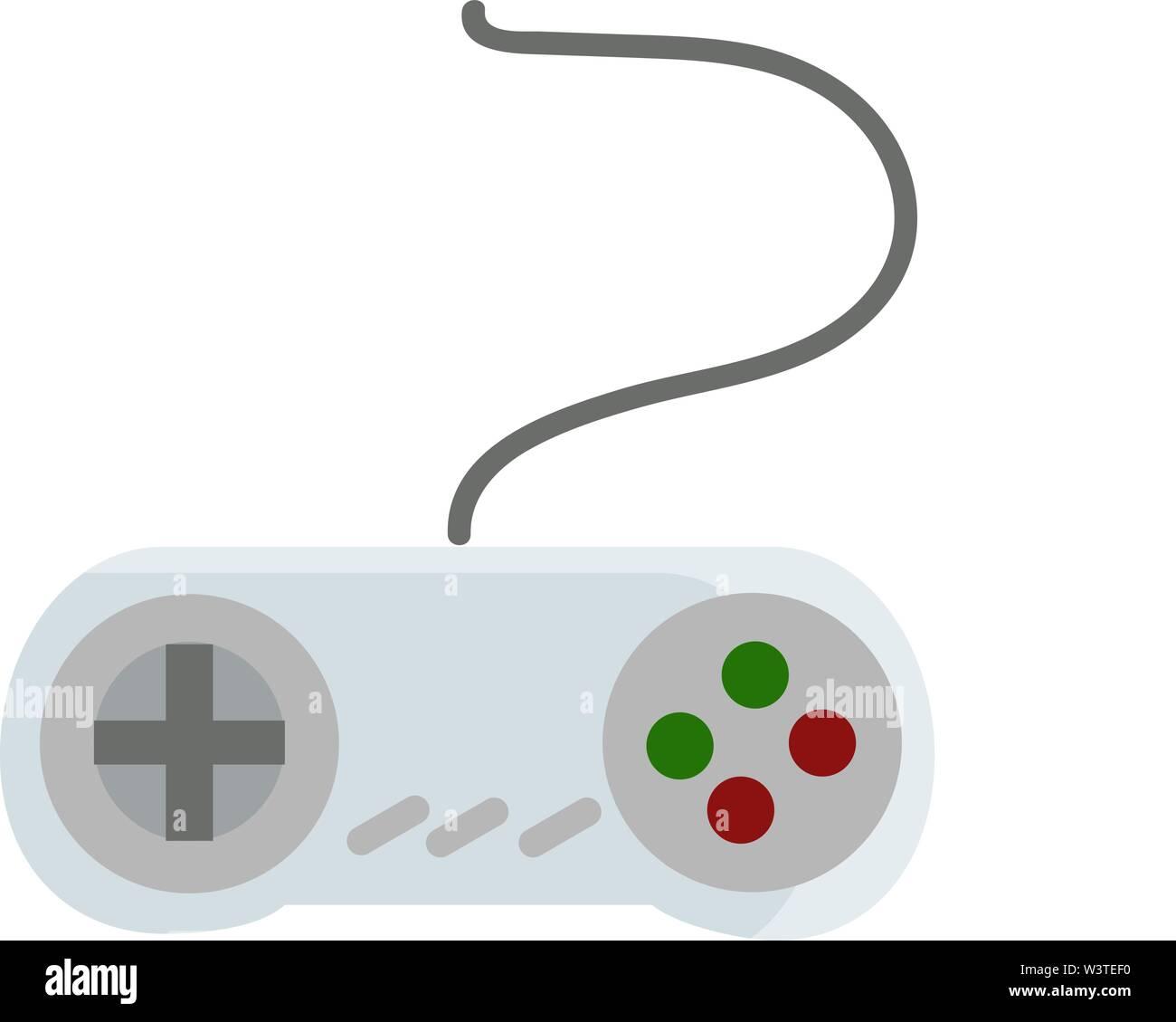 Avec un joystick bleu gris, vert et boutons rouges, Scénario, dessin en couleur ou d'illustration. Photo Stock