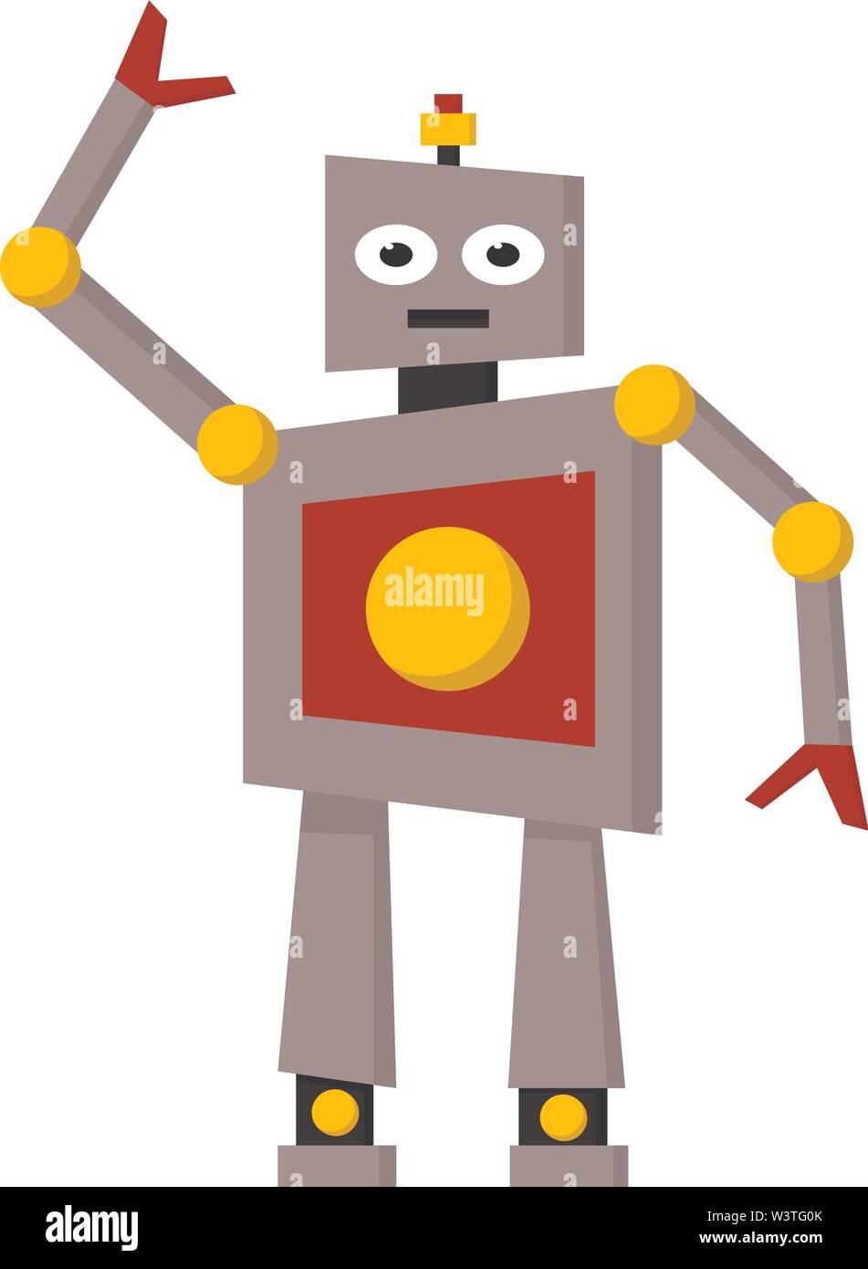 Un robot avec de grandes mains et jambes, Scénario, dessin en couleur ou d'illustration. Photo Stock