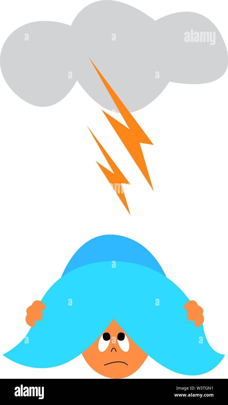 Un gros orage et un bébé de se cacher sous un coussin, Scénario, dessin en couleur ou d'illustration. Photo Stock