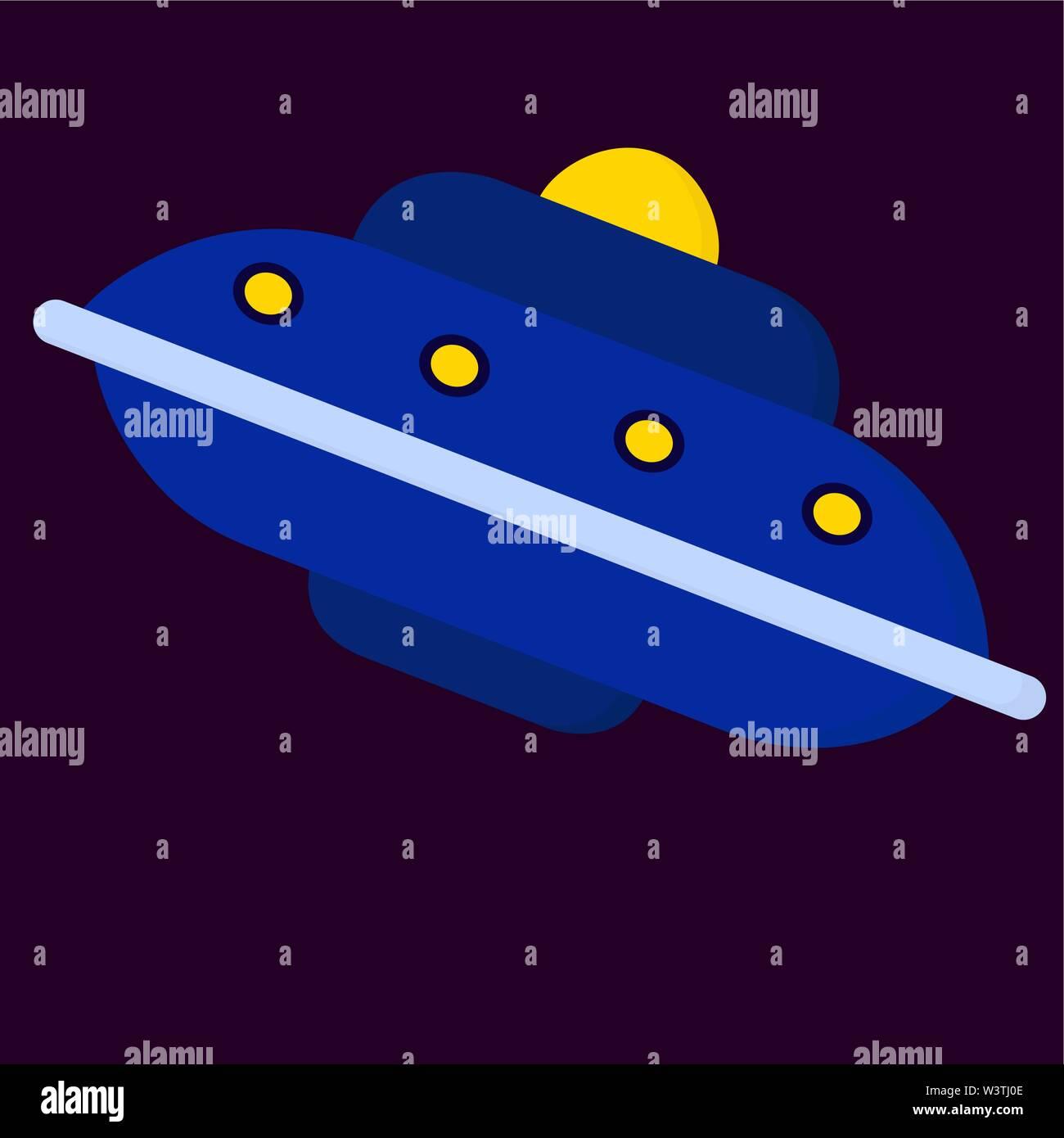 Big Blue spaceship, illustration, vecteur sur fond blanc. Photo Stock