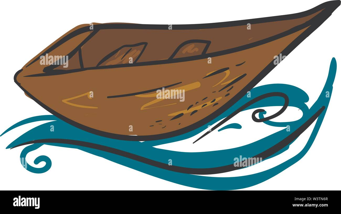 Longboat sur l'eau, vecteur illustration, sur fond blanc. Photo Stock