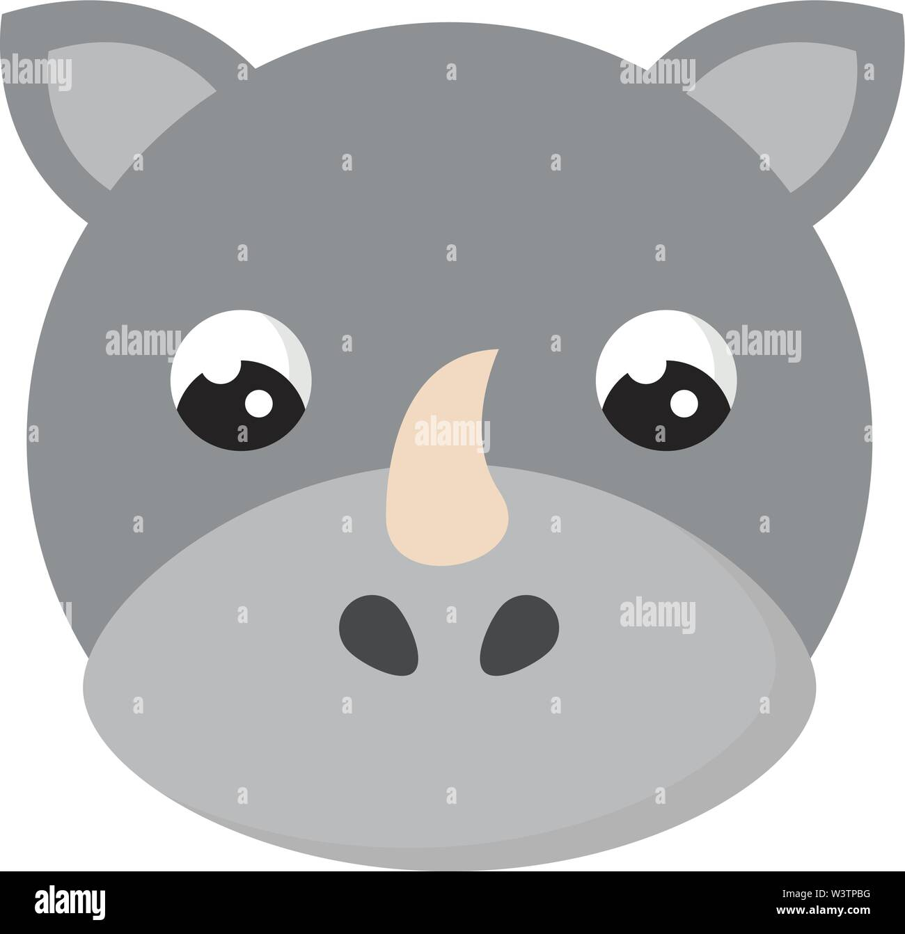 Jolie petite rhino, illustration, vecteur sur fond blanc. Photo Stock
