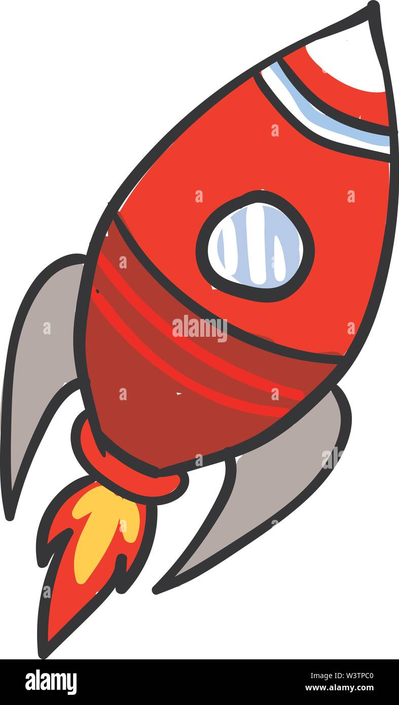 Fusée rouge, illustration, vecteur sur fond blanc. Photo Stock