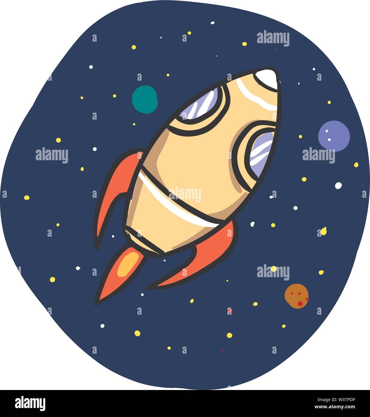 Fusée dans l'espace, vecteur illustration, sur fond blanc. Photo Stock