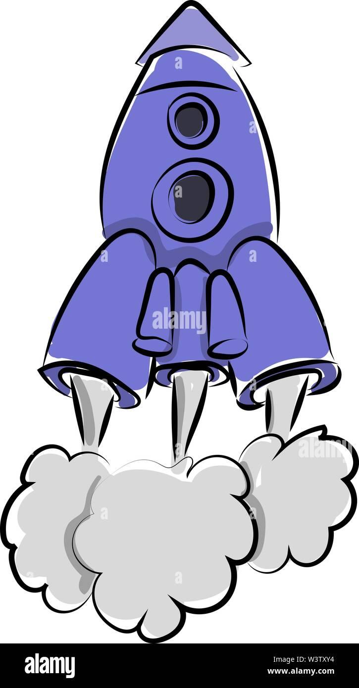 Fusée bleu, illustration, vecteur sur fond blanc. Photo Stock
