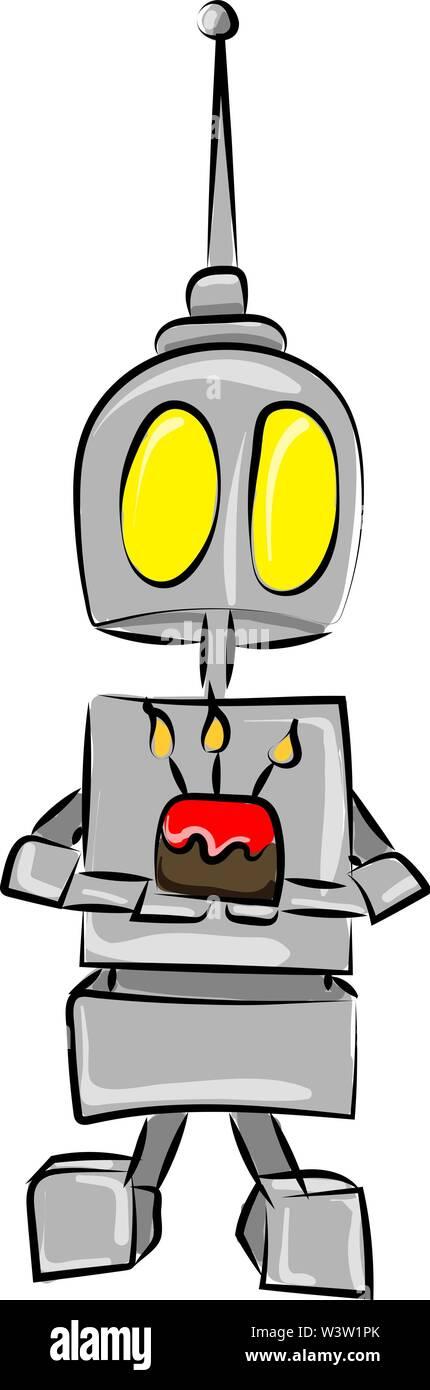 Robot-holding cake, illustration, vecteur sur fond blanc Photo Stock