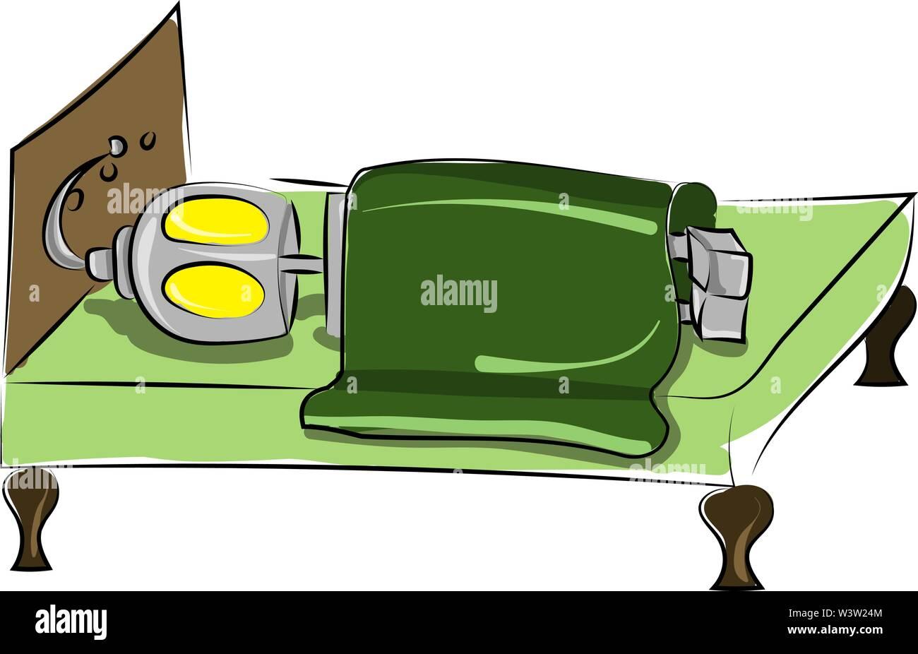 Robot de couchage au lit, illustration, vecteur sur fond blanc Photo Stock