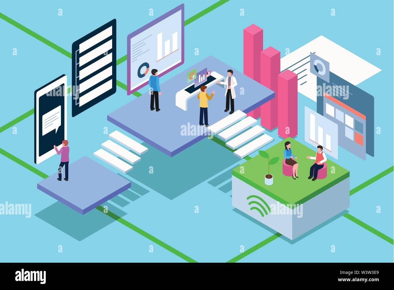 Un vecteur illustration de la tension isométrique de gens d'affaires travaillant avec la technologie Photo Stock