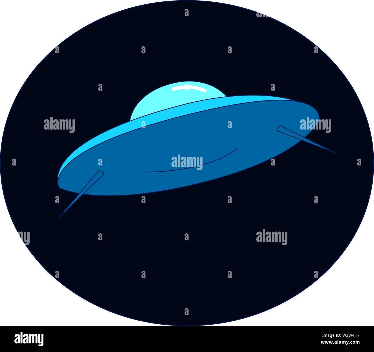 Vaisseau spatial dans l'espace, vecteur illustration, sur fond blanc. Photo Stock