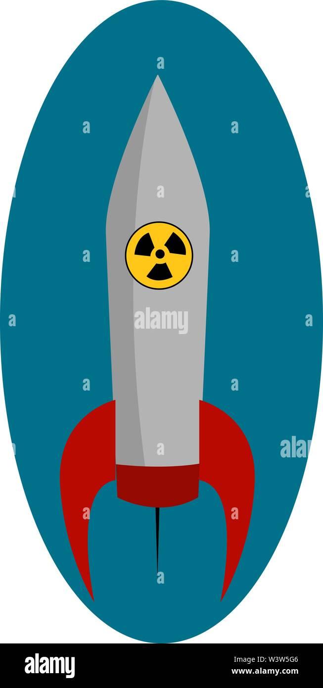 Grande fusée nucléaire, illustration, vecteur sur fond blanc. Photo Stock