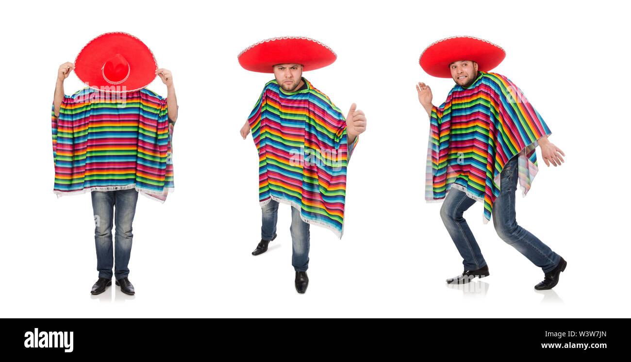 Le Mexicain rigolo isolated on white Photo Stock