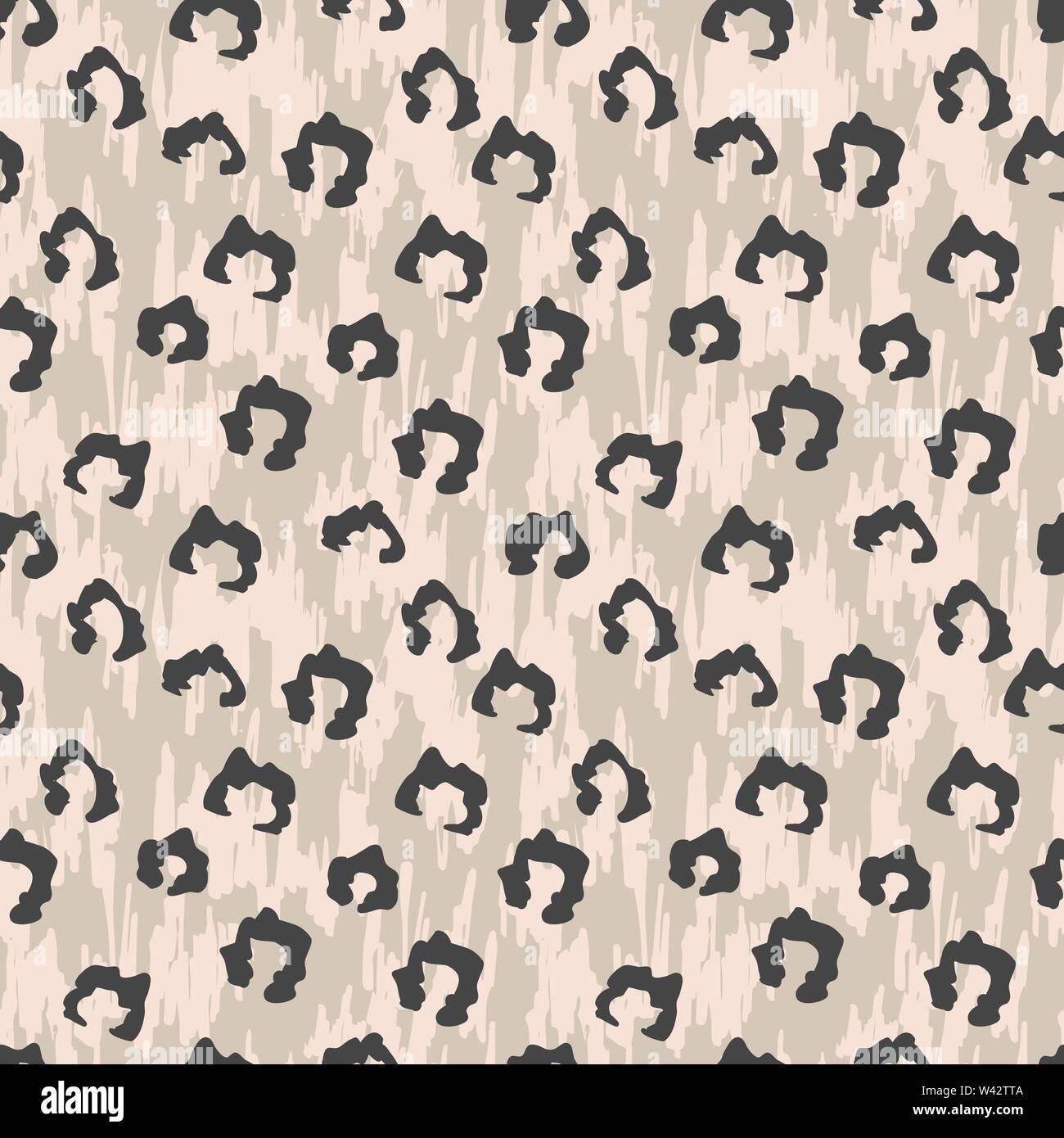 Seamles faux motif peau leopard dessiné à la main avec des taches foncées. Animaux d'illustration vectorielle, un motif de surface de répétition. Photo Stock