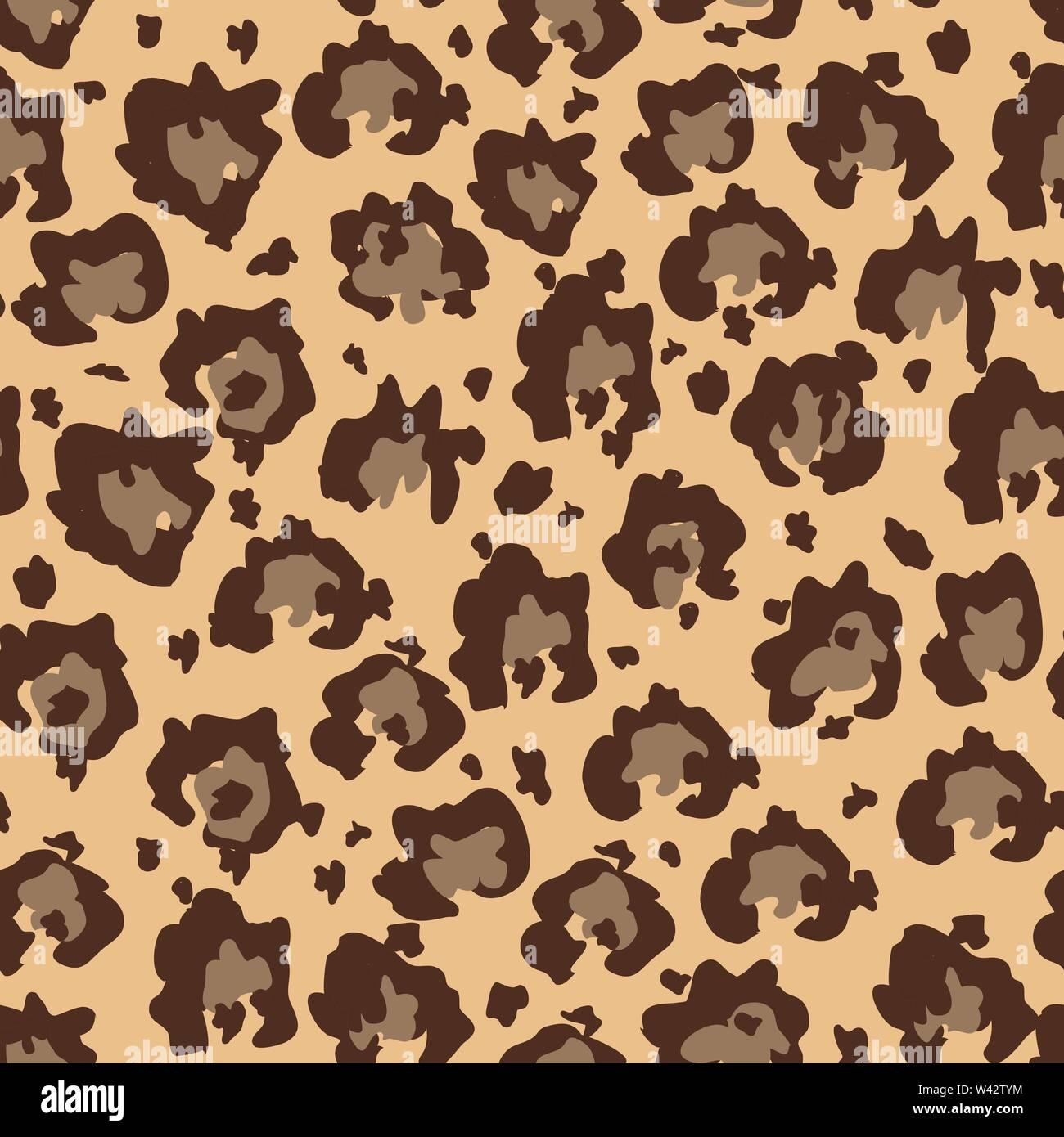 Seamles faux motif peau de Leopard avec les taches brunes. Animaux d'illustration vectorielle, un motif de surface de répétition. Photo Stock