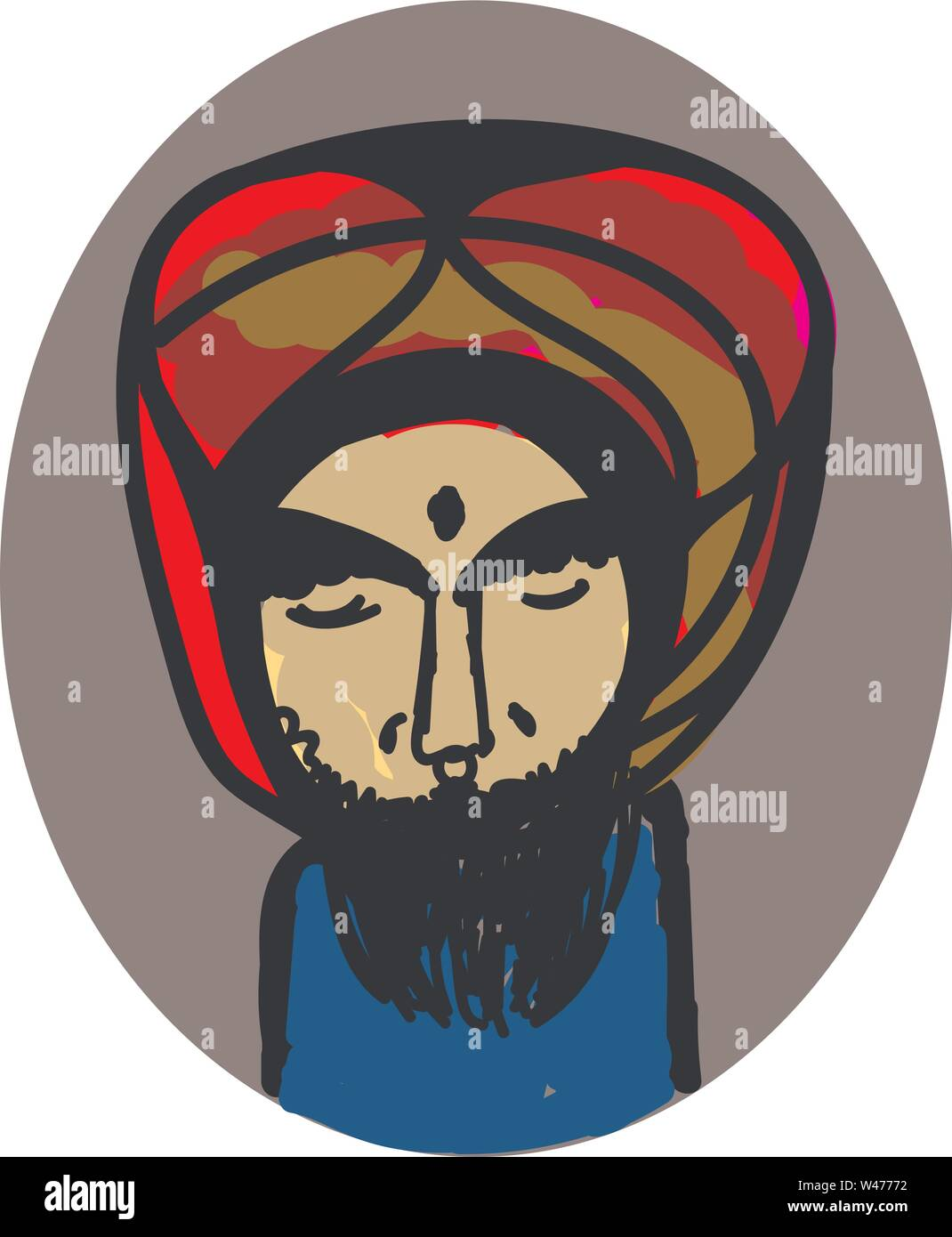Guy indien, illustration, vecteur sur fond blanc. Photo Stock