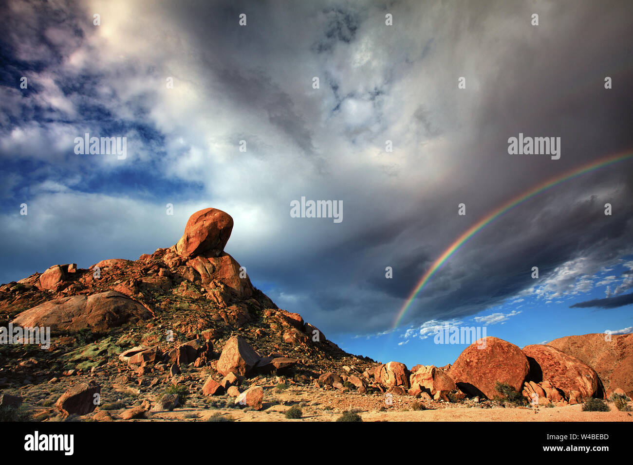 Après la tempête - arc-en-ciel High Desert Afrique du Sud Banque D'Images