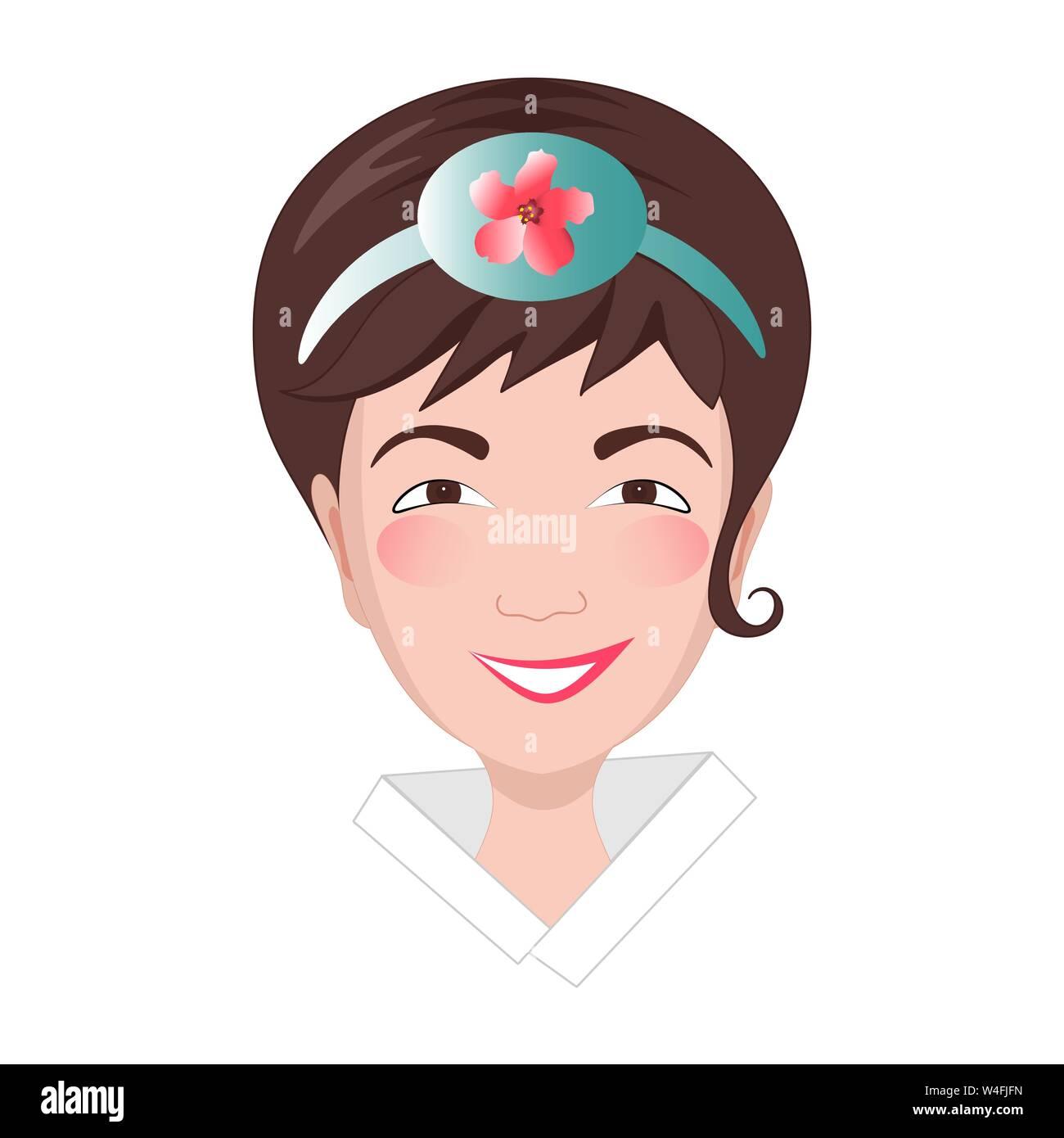 Asian girl's head dans le style. La jeune femme a un bandeau sur la tête avec l'image d'une fleur nationale mugunhwa. Illustration de Vecteur