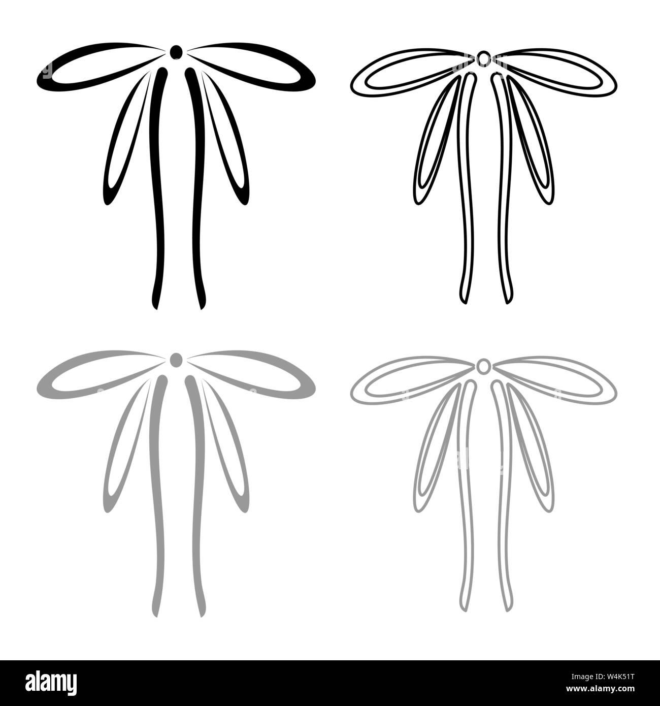 Rubans d'emballage avec Bow concept ornement ruban décoratif cadeau bow curl contour l'icône actuelle couleur gris noir style télévision illustration vectorielle Illustration de Vecteur