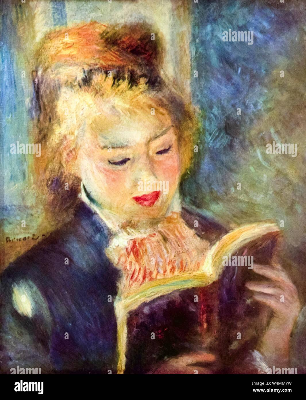 Pierre Auguste Renoir, la lampe de lecture, peinture, 1874-1876 Banque D'Images