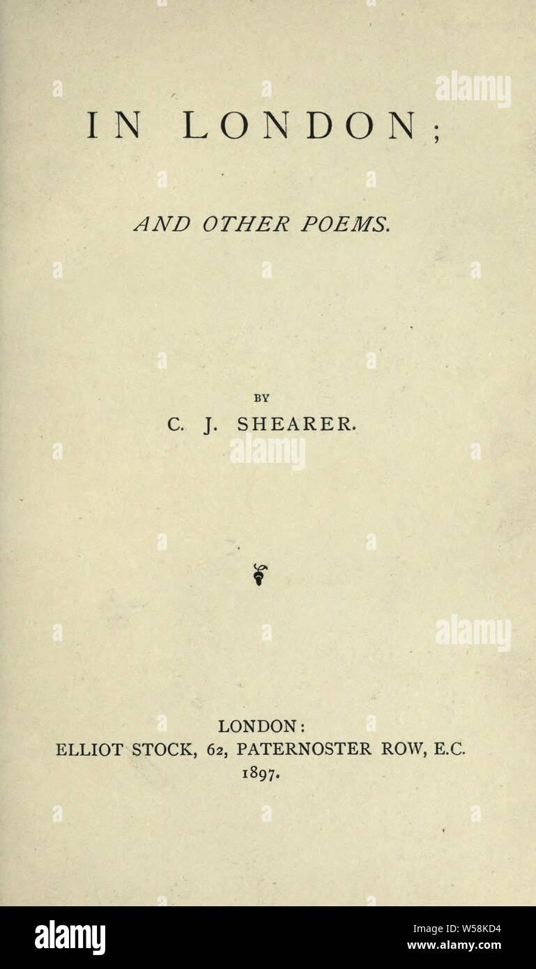 De Londres et d'autres poèmes: Shearer, C. J Banque D'Images