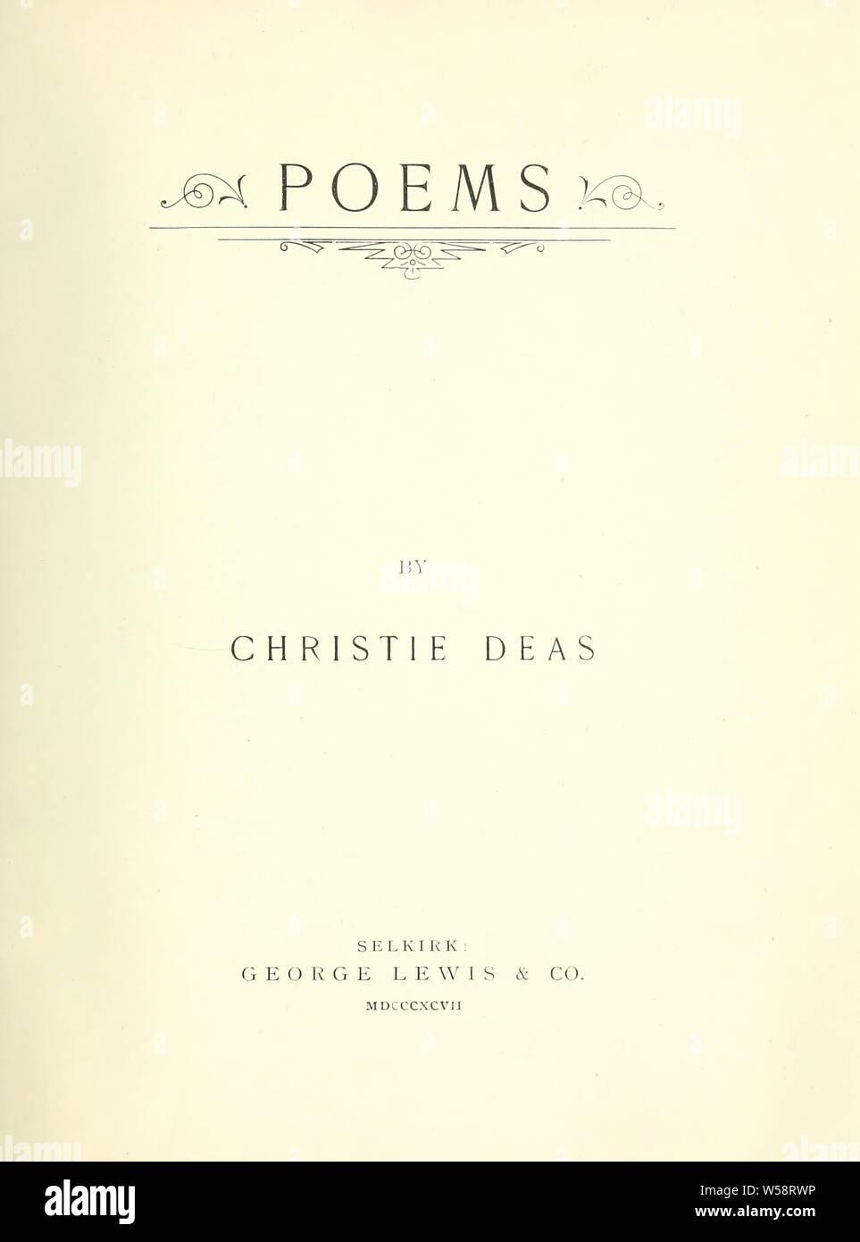 Poèmes: Deas, Christie Banque D'Images